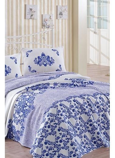 Lady Moda Hüma Mavi Çift Kişilik Pike Seti Renkli